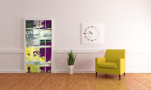 wallario selbstklebende premium t rtapete retro lila gelb design 93x205 cm ebay. Black Bedroom Furniture Sets. Home Design Ideas