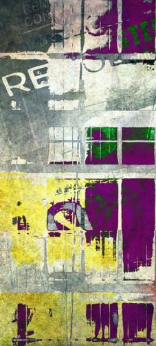 Selbstklebende Tapete Gelb : Selbstklebende T?rtapete Retro-Style lila-gelb