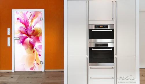 selbstklebende t rtapete pinkes blumenbuket. Black Bedroom Furniture Sets. Home Design Ideas