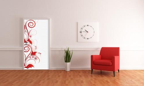 Selbstklebende Tapeten Schweiz : Selbstklebende T?rtapete Abstrakte rote Blumenschn?rkel ? Bild 4