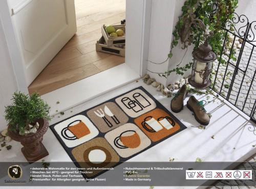 fu matte k chenmotive auf fliesen. Black Bedroom Furniture Sets. Home Design Ideas