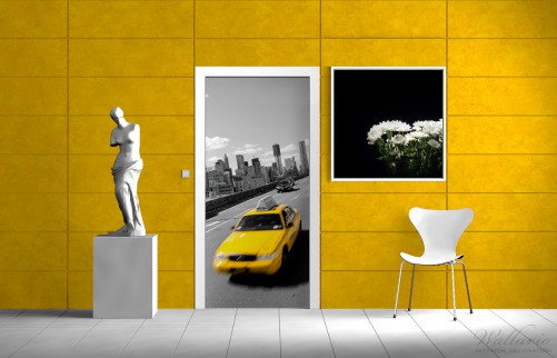 selbstklebende t rtapete new york yellow taxi ii. Black Bedroom Furniture Sets. Home Design Ideas