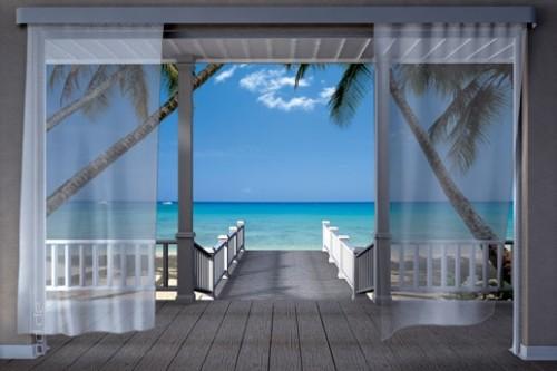 Strandhaus am meer  Fototapete Blick aus Strandhaus zum Meer