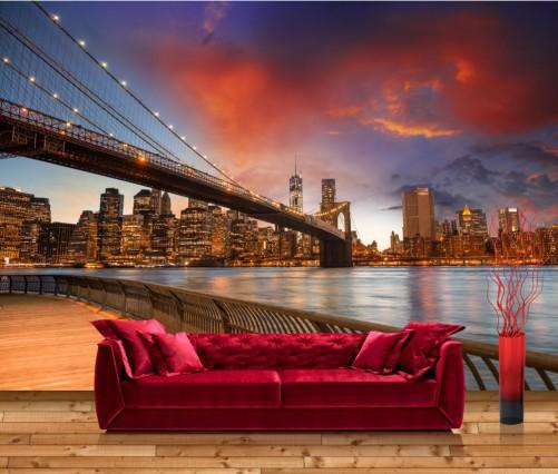 vliestapete new york brooklyn bridge. Black Bedroom Furniture Sets. Home Design Ideas