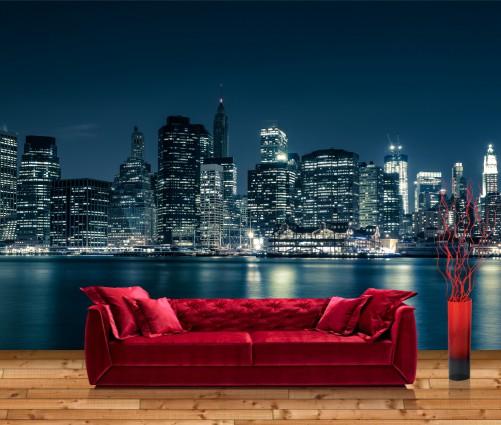 vliestapete new york skyline in blau. Black Bedroom Furniture Sets. Home Design Ideas