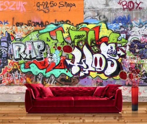premium vliestapete fototapete hauswand graffiti tags sprayen kunst 400x280 cm ebay. Black Bedroom Furniture Sets. Home Design Ideas