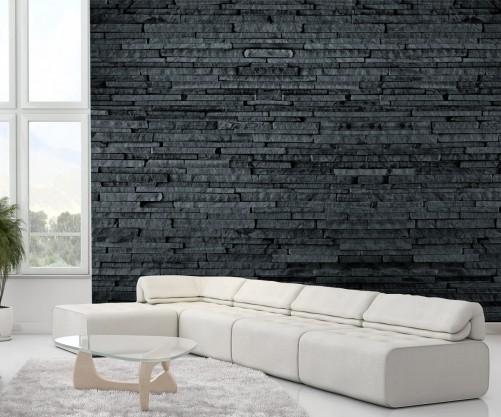 fototapete steinwand - dunkle schieferwand - Schiefer Wand Wohnzimmer