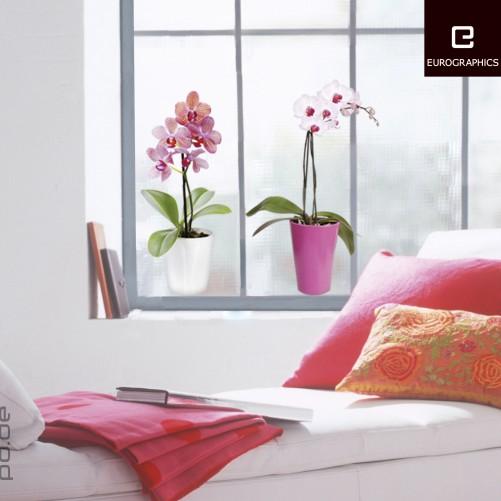 fenstersticker zwei orchideen blumen mit topf 2 teilig gesamt ca 40x40cm ebay. Black Bedroom Furniture Sets. Home Design Ideas