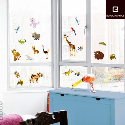 fenstersticker kinderzimmer kleine tiere von weltweit. Black Bedroom Furniture Sets. Home Design Ideas