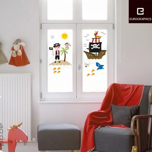 fenstersticker kinderzimmer pirat insel und piratenschiff. Black Bedroom Furniture Sets. Home Design Ideas