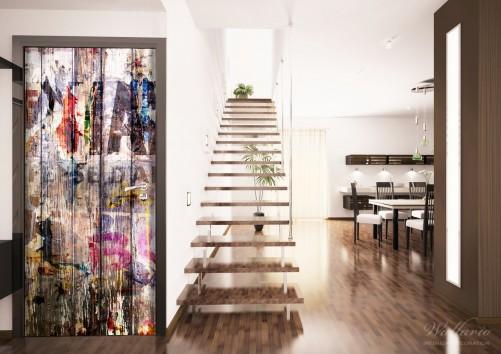 wallario selbstklebende premium t rtapete bemalte holzplanken mit alter schrift ebay. Black Bedroom Furniture Sets. Home Design Ideas