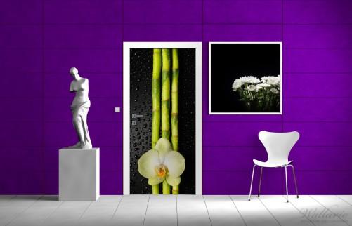 selbstklebende t rtapete gr ne orchidee mit bambus auf schwarz regentropfen. Black Bedroom Furniture Sets. Home Design Ideas