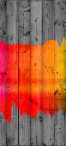Selbstklebende Tapeten Holz : Selbstklebende T?rtapete Holzpaneel – Bemaltes buntes Holz ? Bild 1