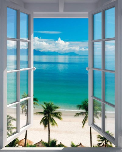 poster fenster zum s dsee strand mit palmen. Black Bedroom Furniture Sets. Home Design Ideas
